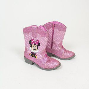 Pink Minnie Mouse Girls Sparkly Boots